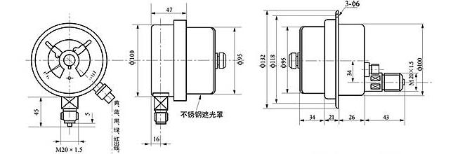 卡车压力表仪表和感应器的接线图